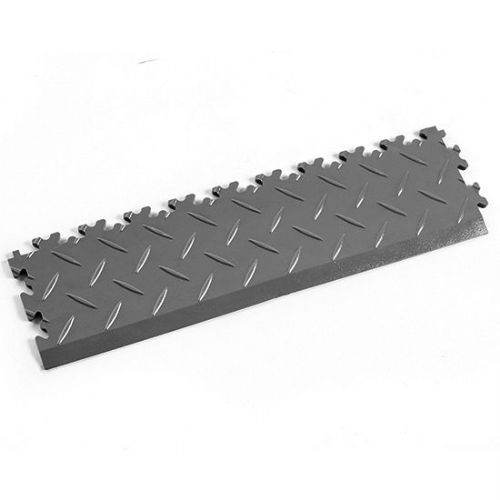 MotoLock Interlocking Tile Edging (Dark Grey Diamond-plate)
